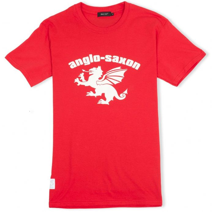 Anglo-Saxon White Dragon Red T-Shirt